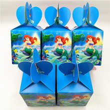 6pcs Little Mermaid Candy Box Party Suppliers Gift For Kids Girl Birthday Decoration Baby Shower Favors