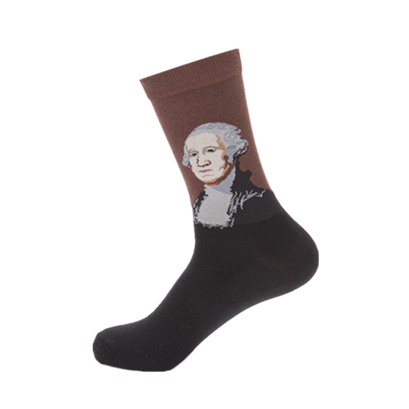 Man combed cotton happy socks mens oil paintings series washington funny socks fashion casual colourful couple art sock