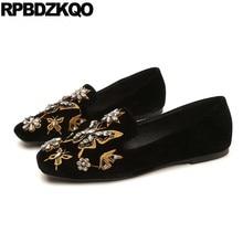 9c6fed1d3 Mulheres Bordado Camurça Calçados Bordados Chineses China Mocassins Feito à  Mão Dedo Quadrado Sapatos Rasos Designer