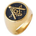 College Style Look (GOLD Plated)  Freemason Ring Masonic Rings. Stainless Steel Freemason's Jewelry for Free Masonry Member.