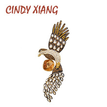 CINDY XIANG 2 Colors Choose Cubic Zirconia Eagle Brooch Women And Men Unisex Animal Pins Suit Coat Cool Jewelry Good Gift