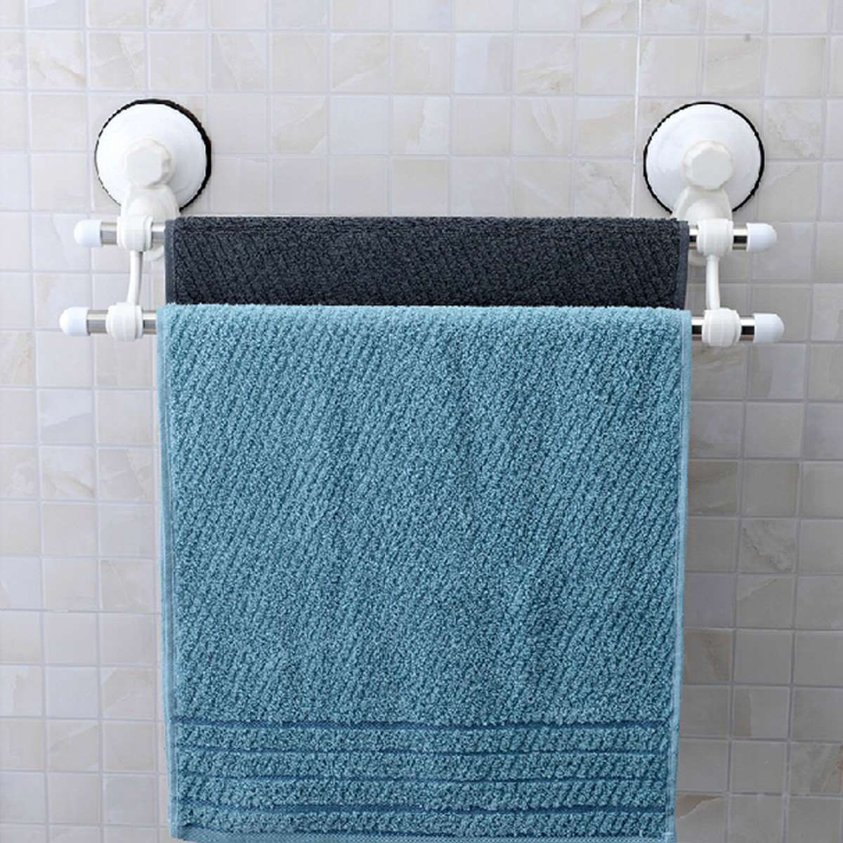 double rod suction cup stainless steel wall mounted bathroom towel rail holder storage rack. Black Bedroom Furniture Sets. Home Design Ideas