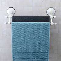 Double Rod Suction Cup Stainless Steel Wall Mounted Bathroom Towel Rail Holder Storage Rack Holder Rail