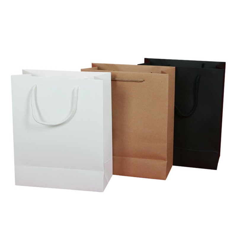 10pcs Set 19x13x6cm Kraft Paper Gift Bag With Handle Wedding Birthday Party Christmas Children Ping School Package Bags