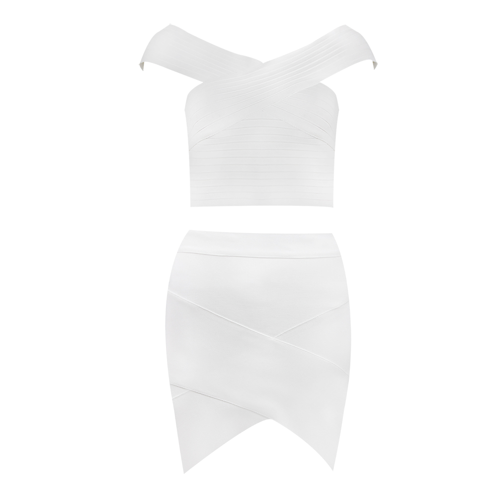 Free Shipping Solid Nude Summer Style Sexy Off Shoulder White 2 Piece Bandage Dress 2020 Designer Fashion Party Dress Vestido 2