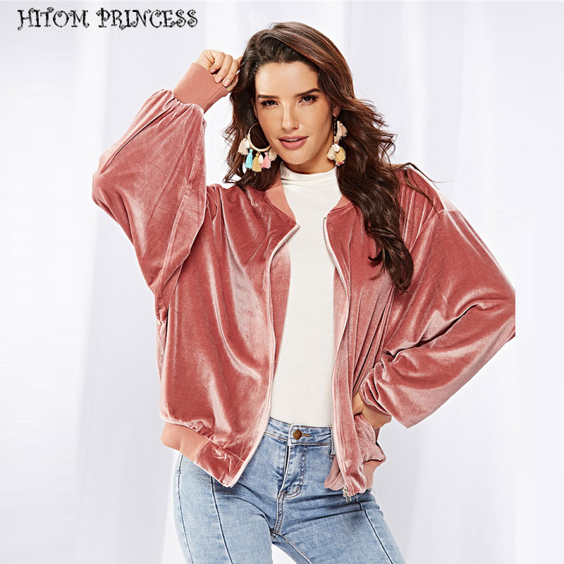 HITOM PRINCESS Elegant Velvet   Basic     Jacket   Women Casual Biker Coats Female Outerwear Autumn Zipper Bomber   Jackets   Winter 2018