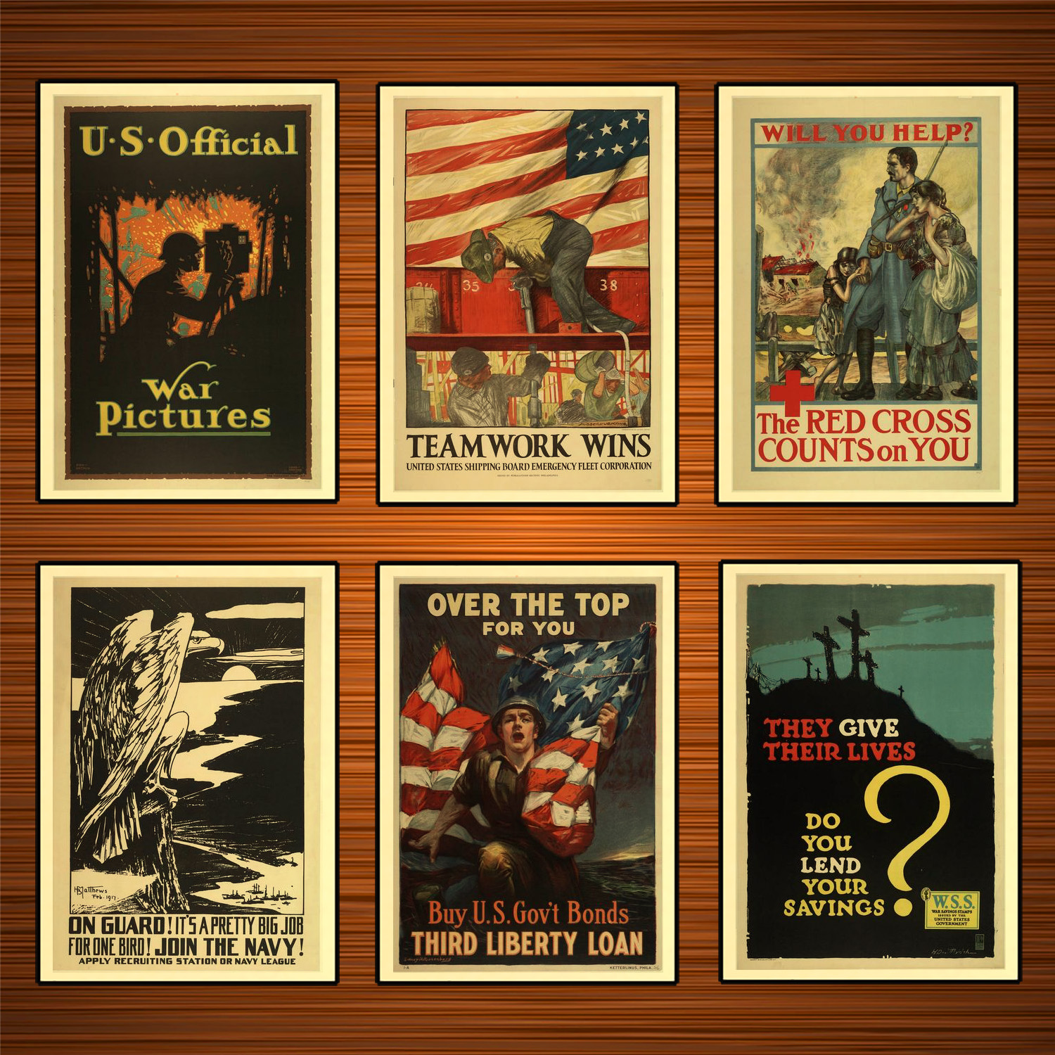 Vintage 1910s USA WW1 Propaganda Poster Teamwork Wins Classic Canvas Paintings Wall Stickers Home Decor Gift image