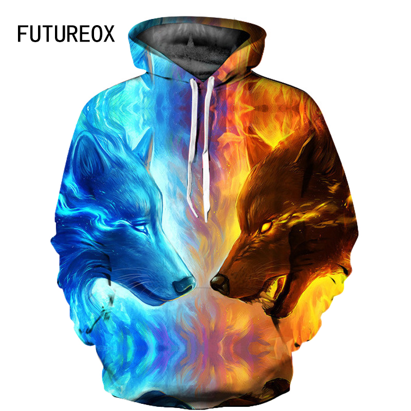 FUTUREOX 2019 high quality Men/Women 3D Sweatshirt Ice fire Wolf Print polyester Hooded hip hop casual Unisex Hoodies Wholesale