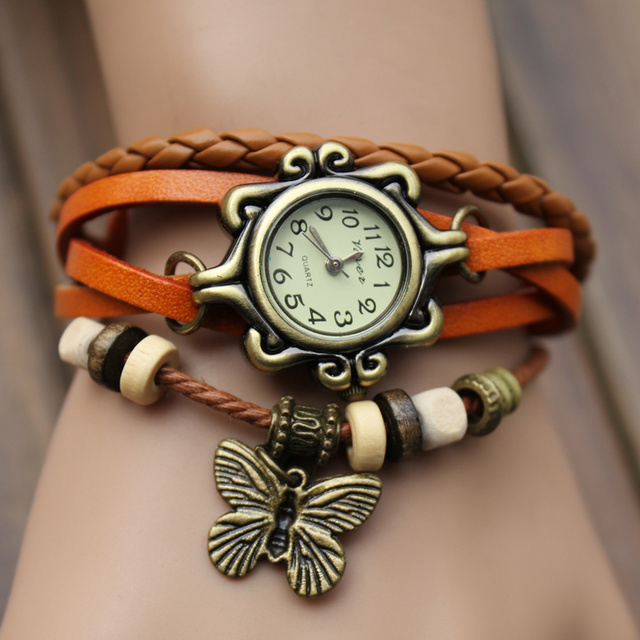 Vintage Bracelets Women's Wristwatches Butterfly Pendant Fashion Dres Watches for Women Ladies' Quartz Watch Clock Female