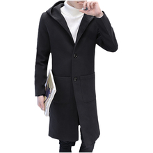 цена на Long section woolen coat autumn and winter men's hooded Slim windbreaker solid color simple wild pocket decorative wool coat