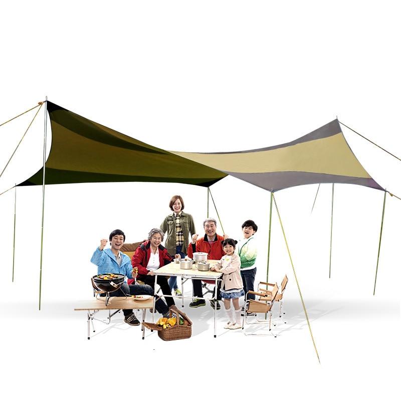 Abri soleil hexagonal avec poteaux UV 40 + tente de plage ombre bâche Pergola Camping parasol Gazebo auvent étanche auvent