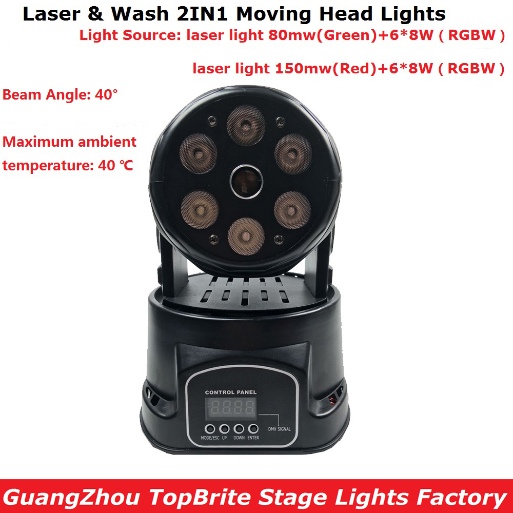 Factory Arrival Dj Lighting 6X8W RGBW Quad Color LED Moving Head Wash Light Hi-Quality Green Color 80mw Moving Head Laser Light free shipping hot sale mini led moving head wash light rgbw quad dj lighting