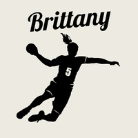 Handball Player Wall Decal Custom Girl Name and Number WALL STICKER Personalized Vinyl Sticker Decor Home Decoration