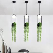 Lighting Fixtures Hanging-Lamp Flower-Pot Home-Decor Ring-Plant-Pendant-Lights Black