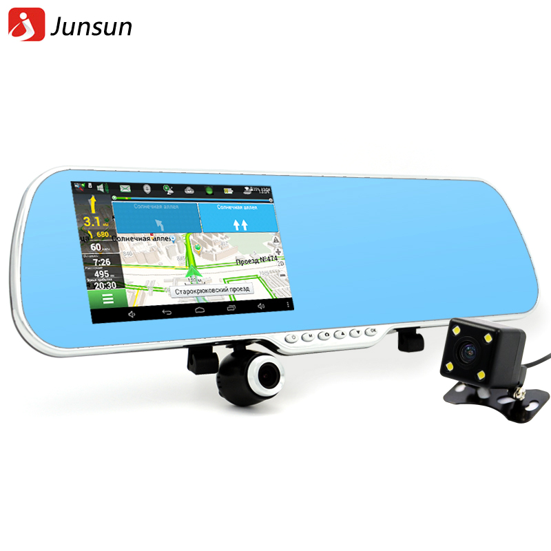 Junsun 5 inch IPS Car font b GPS b font Navigation 16GB DVR Rearview mirror Android