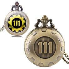 Fallout 4 Vault 111 Patroon Army Navy Kleur Nummer Vorm Zakhorloge Chain Gift Set(China)