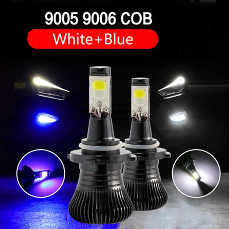 Автомобилей COB чип двойной Цвет 6000 К светодиодный Туман дальнего HB3 9005 9006 HB4 флэш-белого и синего цвета H3 H11 H8 h9 H27 880 881 12 В