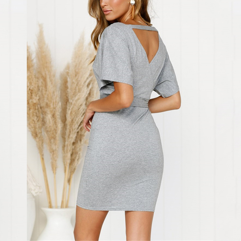 2019 Elegant Fashion V neck Short Sleeved Lace Up Sexy Solid Color Backless Slim Fit Party Bodycon Dress in Dresses from Women 39 s Clothing