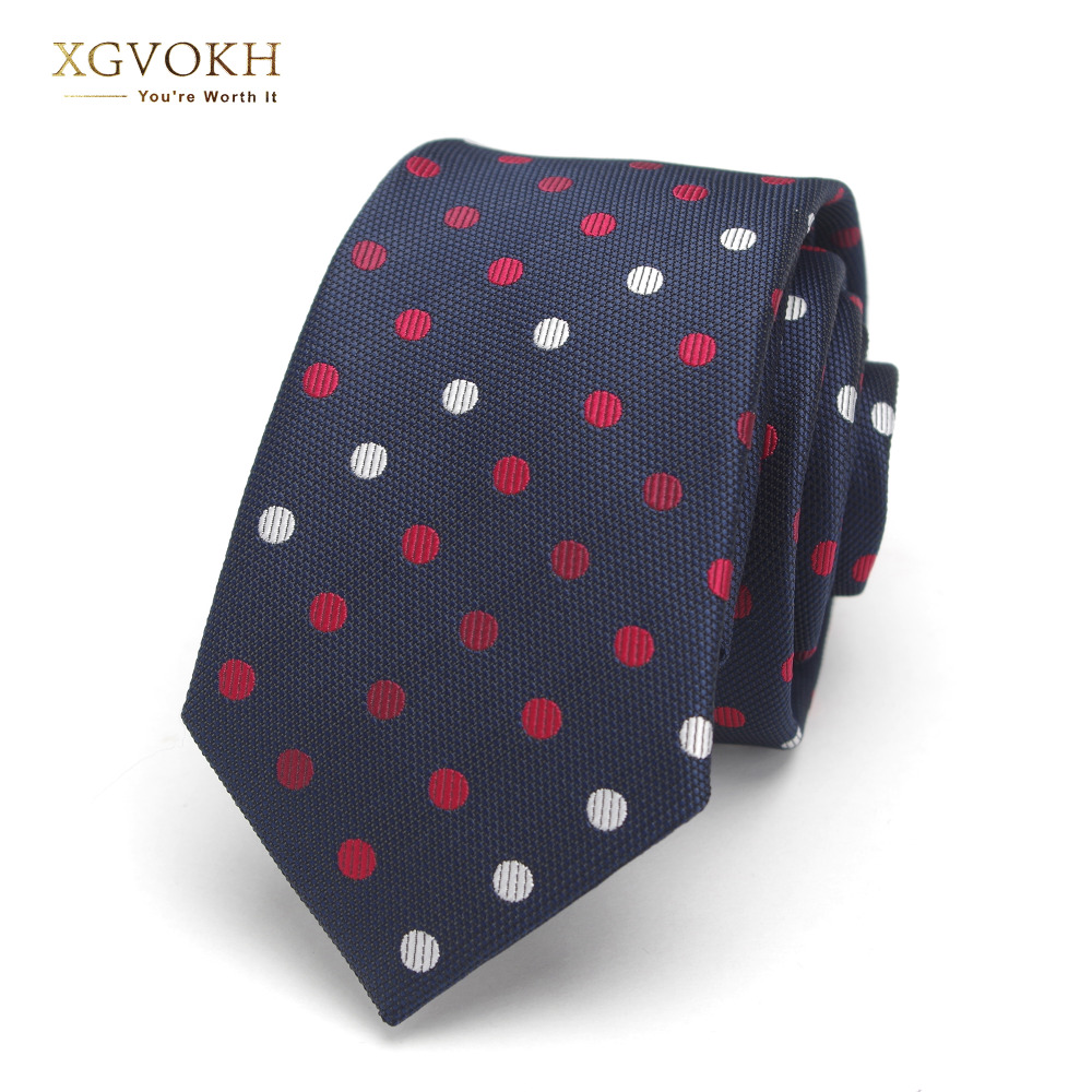 Mens 6cm Dot Neck Ties For Men Red Blue Polyester Neckties Casual Tie Business Neckwear Corbatas Wedding Suits Gravatas