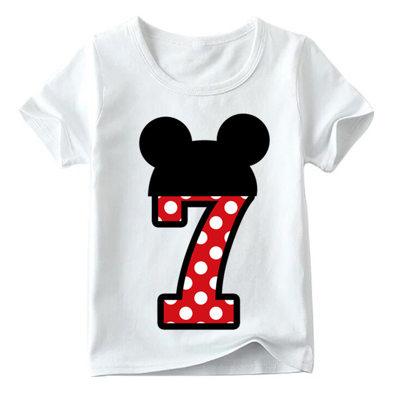 Baby Boys/Girls Happy Birthday Letter Bow Cute Print Clothes Children Funny T shirt,Kids Number 1-9 Birthday Present,HKP2416 22