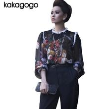 D548 Spring Summer Autumn 2015 Women Runway Style Retro Vintage Painting Angel Print Long Sleeve O