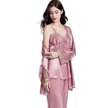 Faux Silk Pajamas Female 2019 Autumn New Silky Ice Sleepwear Woman Long-Sleeve Three-Piece Pajama Sets X5578