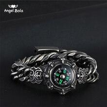 16848d18393e De moda brújula hombres Pulseras y brazaletes 316L de titanio de acero  inoxidable elegante cadena de mano de Buda pulsera de la .