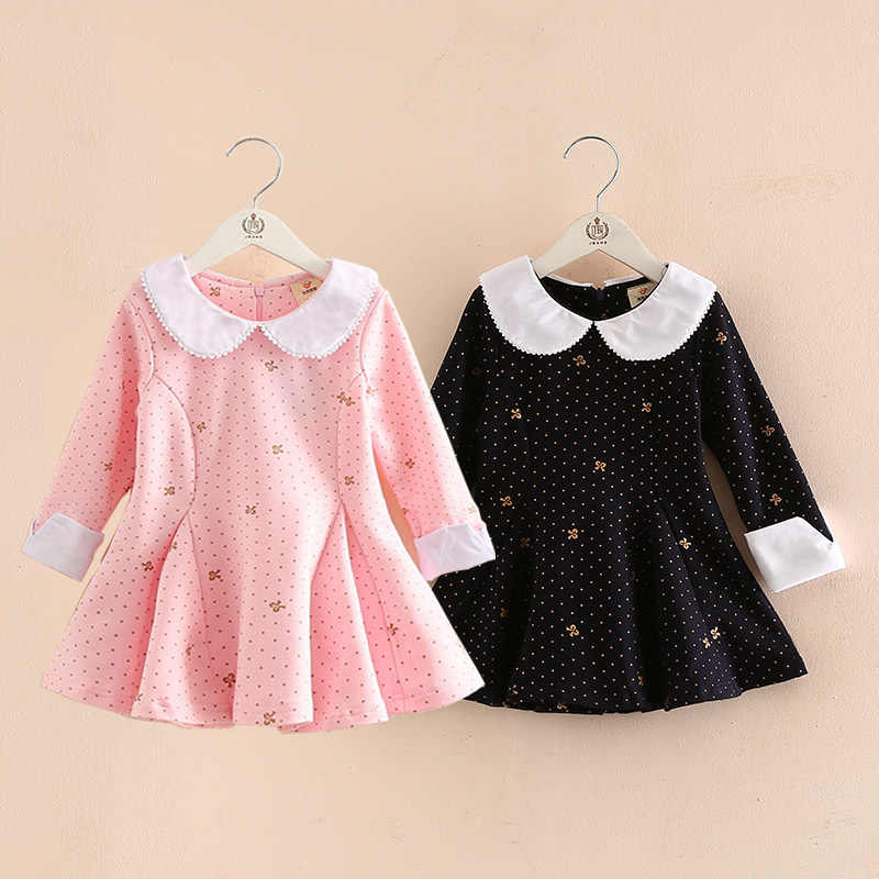 2018 Spring Autumn Children'S Clothing England Style Baby Girl Floral Print Peter Pan Collar Cute Long Sleeve Dress