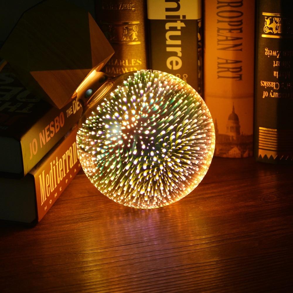 3d-effekt LED tischleuchte E27 110 V 220 V LED Feuerwerk licht birne Schreibtisch Kreative Dekorative lampe Für Schlafzimmer A60 ST64 G80 G95 G125