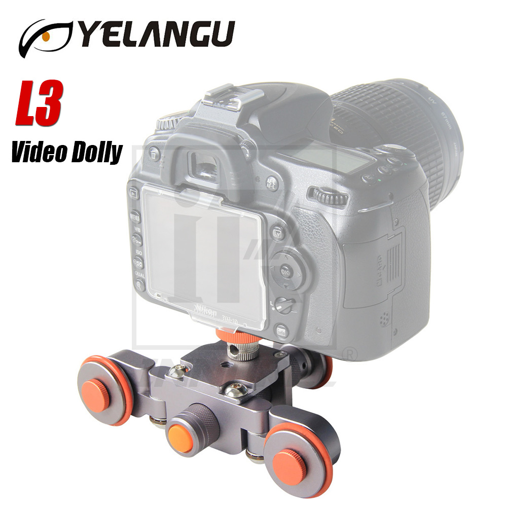 цена на L3 intelligent Electric Video Dolly 3-Wheel Pulley Car Rail Rolling Track Slider Skater For DSLR Camera Camcorder Smart Phone