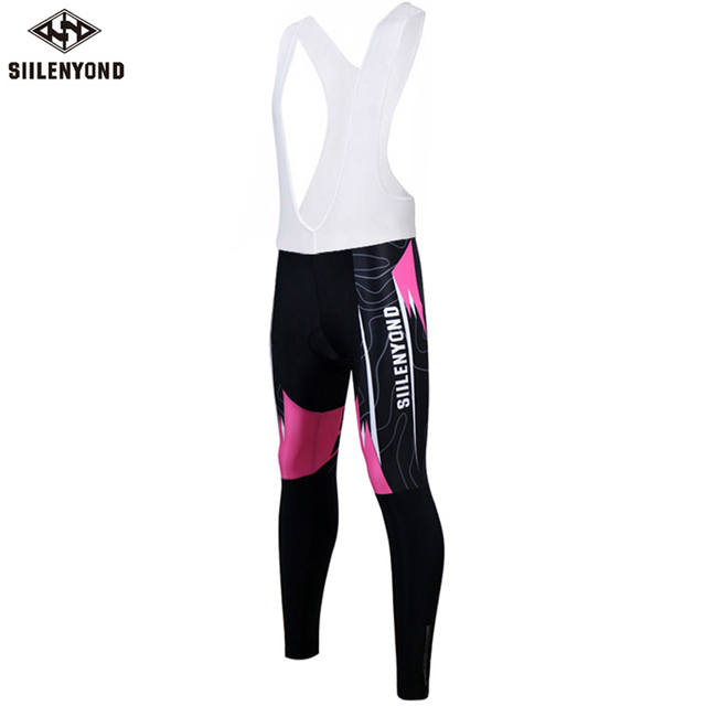 Siilenyond 2019 New Women Winter Pro Keep Warm Cycling Bib Pants Thermal Cycling Trousers With 3D Coolmax Gel Pad
