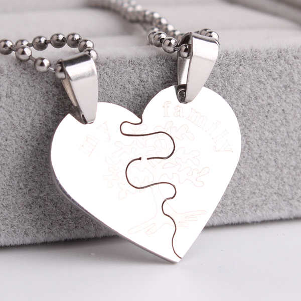 free shipping Family tree hearts couple lovers Stainless Steel pendant necklaces for men women wholesale