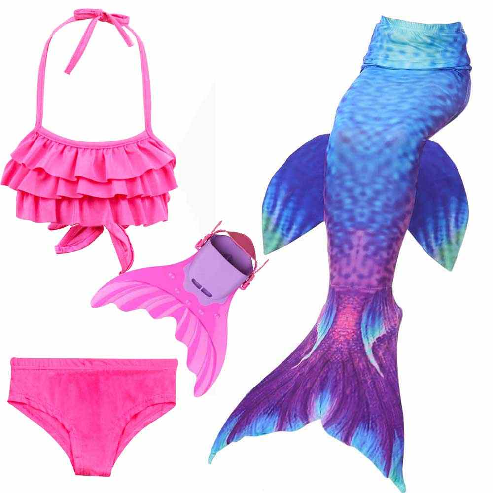 2cc4172fac979 2018 Girls 4Pcs Set Swimming Mermaid Tail with Monofin Little Children  Ariel Mermaid Costume Swimsuit