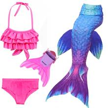 2018 Girls 4Pcs/Set Swimming Mermaid Tail with Monofin Little Children Ariel Costume Swimsuit Cosplay Flipper For Kids