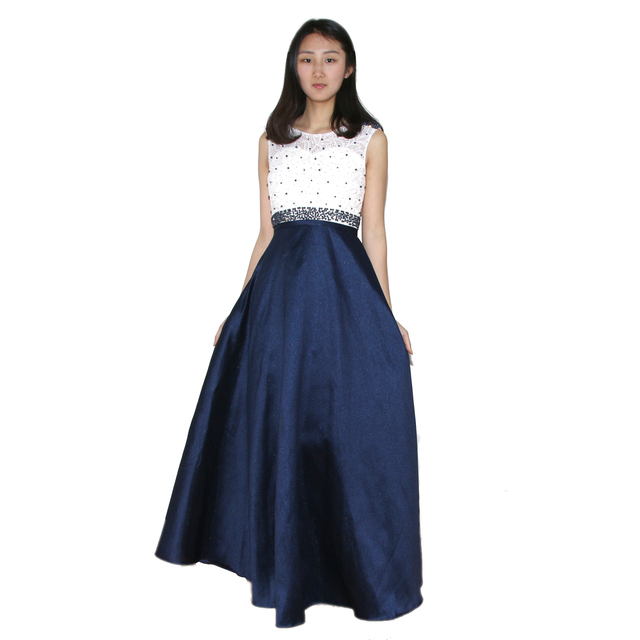 Luxury Beaded White Lace Prom Party Dress Navy Blue/Silver/Red ...