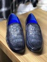 Натуральная крокодила живот глянцевой кожи мужская обувь Прочная твердая крокодиловой кожи мужские деловые модельные туфли в 2 цвета смеша
