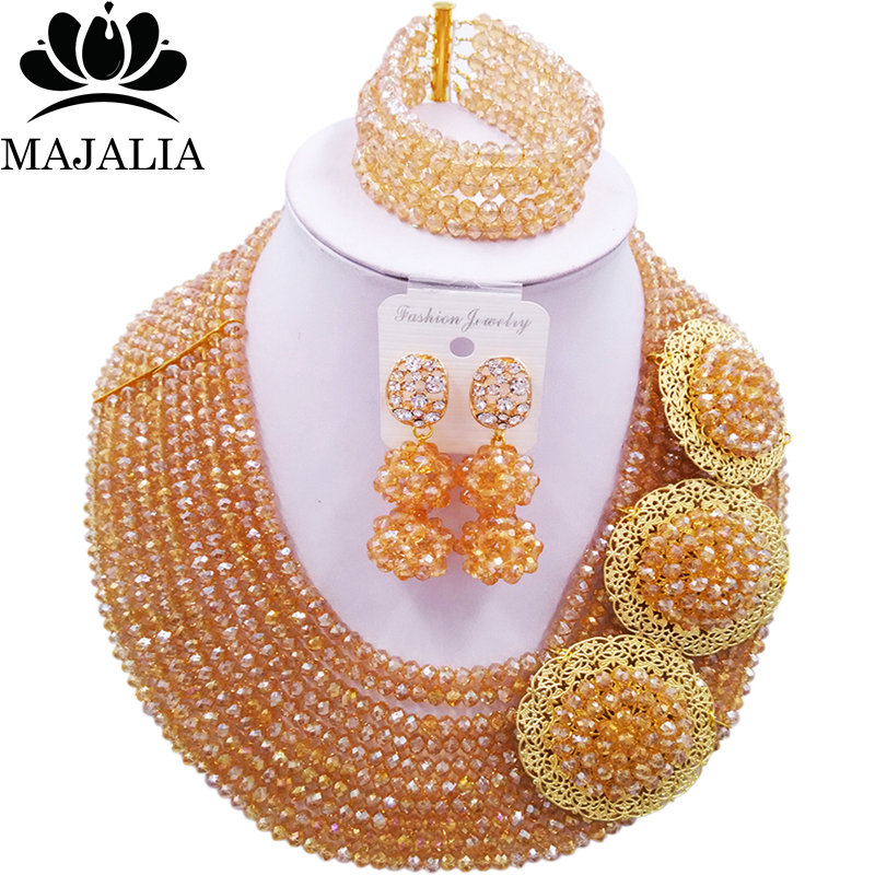 Majalia Official Store Majalia Fashion Romantic Nigerian Wedding African Jewelry Set Gold ab Crystal Necklace Bride Jewelry Sets 10CP006
