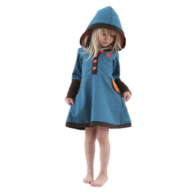 Autumn winter Dress baby girl stitching knitting sweater dresses kids girls thick warm Hoodies Button casual dress 1-4Y