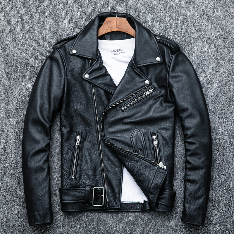 HTB1Jq1NKf5TBuNjSspmq6yDRVXay MAPLESTEED Classical Motocycle Jackets Men Leather Jacket 100% Natural Calf Skin Thick Moto Jacket Man Biker Coat Winter M192