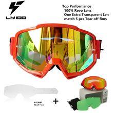 100% Revo Мотоцикл Goggle Радуга + Более Заменить Противотуманные Линзы Мотоцикл Очки Гонки Мотокросс LY42