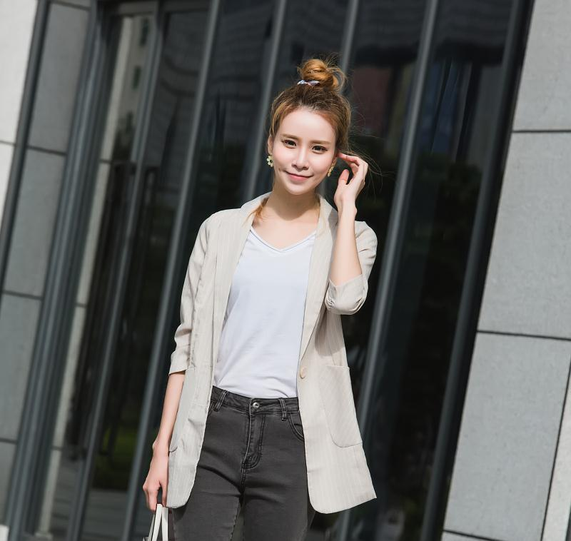 2018 Fashion Women Blazer Korean Version Long Section Small Suit Female Slim Thin Jacket Seven Sleeves Strip Blazers Summer