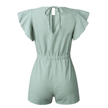 Green Ruffles Sleeve Lace Up Overalls Rompers SF