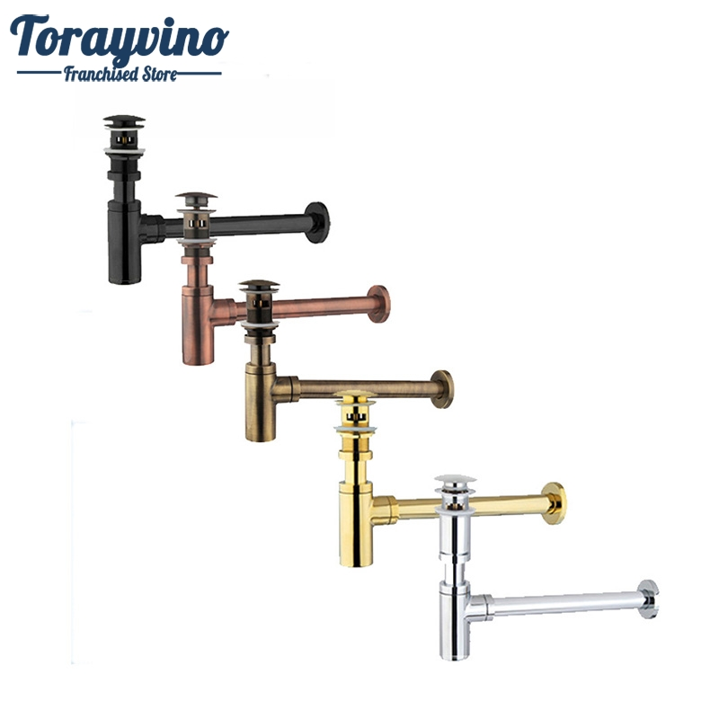 Nice Bottle Traps Pop up Basin Waste Drain Basin Faucet P-Traps Waste Pipe Into The Wall Drainage Plumbing Tube euro solid brass plumbing p trap bathroom sink pipe bottle traps for wash basins & waste drainer pop up drain dr444