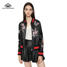 Bella Philosophy 2016 new winter floral printing embroidery applique women clothing faux PU leather women bomber jacket
