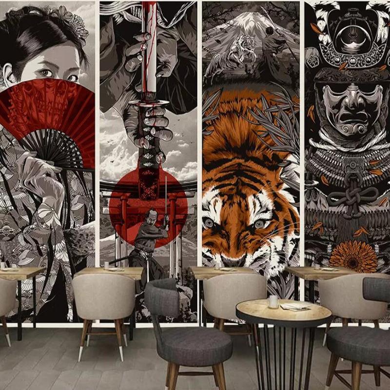 Japanese-Style Wallpaper Samurai Ukiyo-E Hotel Decorative Wall Hotel Japanese-Style Tea House Custom 3D Mural