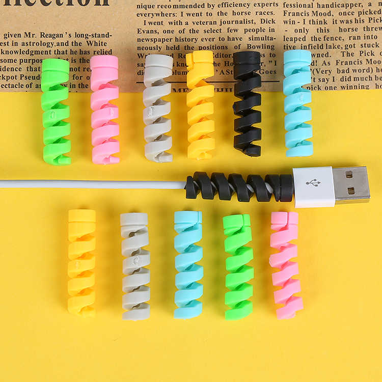 bad076fec65 Spiral Cable protector Data Line Silicone Bobbin winder Protective For  iphone Samsung Android USB Charging Case