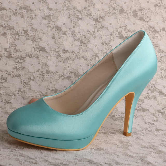 Wedopus Elegant Women Mint Green Shoes Wedding High Heeled ...