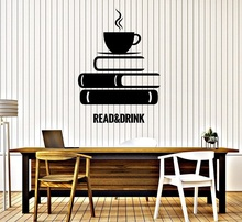 Leitura e chá da tarde vinil adesivo de parede livro café sala de leitura estudo biblioteca decoração adesivos de parede casa arte decalque yd02