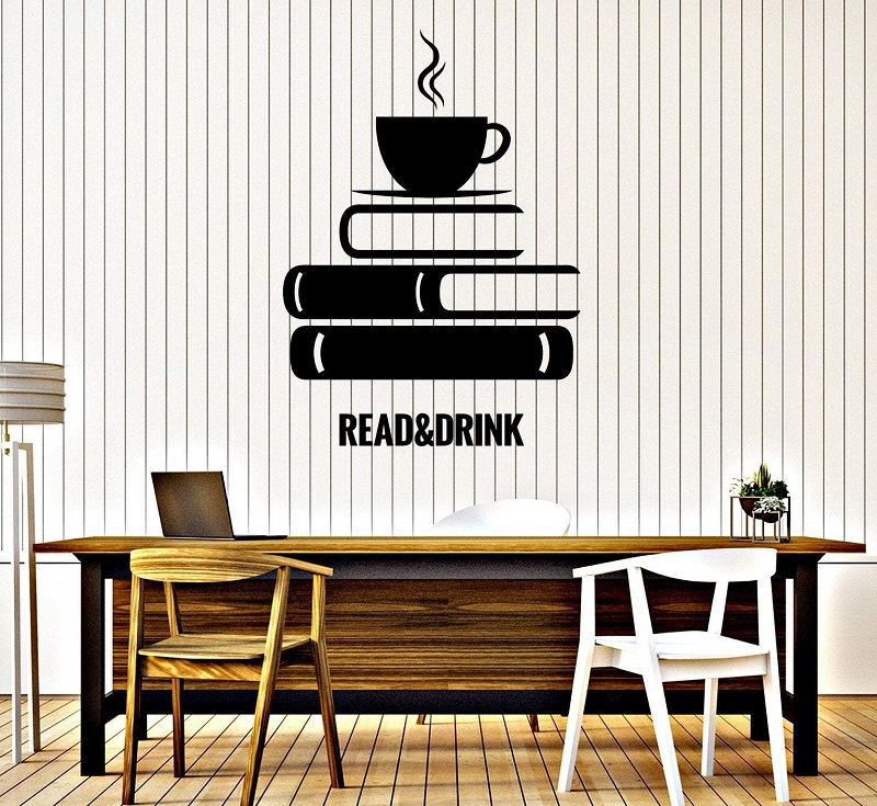 Reading and afternoon tea vinyl wall sticker book coffee reading room study library decoration wall stickers home art decal YD02-in Wall Stickers from Home & Garden
