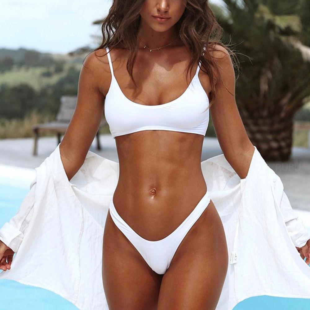Sexy Women Triangle Padded Bra Push-up Throng Swimwear Bikini Solid White Black Blue Brown Swimsuit Bathing Suit